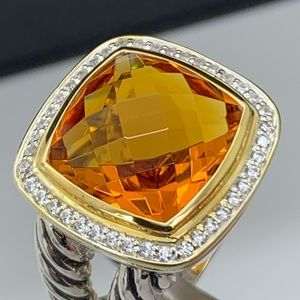 David Yurman 925 18KT 14mm Citrine Diamonds Ring 7